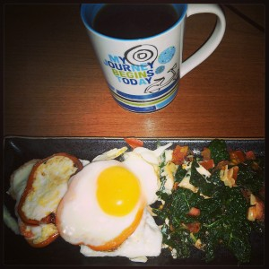 3 eggwhites + 1 egg, 1/2 of a bell pepper, Kale sauteed in olive oil, garlic and tomato.