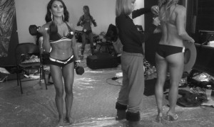 Some of the girls pumping up.  The girl on the left, Emily, won the model division, rightfully so.